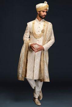 Ivory embroidered sherwani set by Gujralsons Wedding Dresses Men Indian, Wedding Dress Men, Wedding Men, Indian Weddings, Wedding Outfits, Farm Wedding, Wedding Couples, Boho Wedding, Wedding Reception