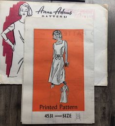 "12.99 USD  Anne Adams 4531; 1986; Misses' Wrap Dress: Easy to sew dress with gored skirt has no side seams - sleeveless back wrap dress with low V back and square front necklines. 7 pattern pieces. Pattern is factory folded and uncut. The ""zoom"" feature will allow you to take a closer look at the back of the pattern to get relevant fabric sizing and notion requirements. Thanks for looking!  Etsy Shop for RoxyPoindexter 1986; Size 8 Bust 31.5; Anne Adams Mail Order 4531; Vintage Sewing…"