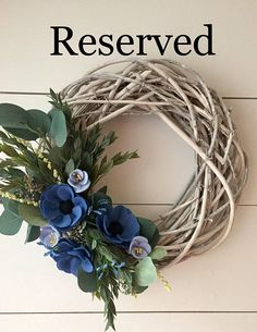RESERVED Felt Flower Wreath Anemone Wreath Twig Wreath