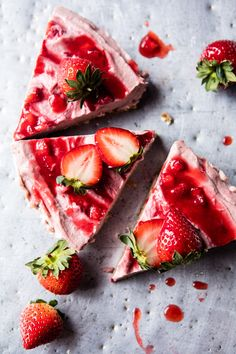 Strawberry Ripple Almond Cheesecake - delicious, vegan, easy to make, and can be made completely in advance...oh, and so pretty! From halfbakedharvest.com