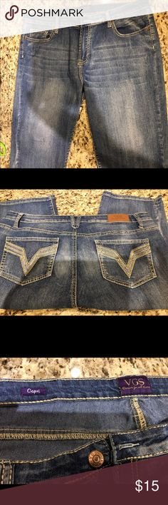 Denim capris, size 16, very stretchy. VGS BRAND VGS denim capris, size 16 with lots of stretch. Cute stitching on back pockets. Excellent condition.  Denim fabric is distressed. VGS Pants Capris