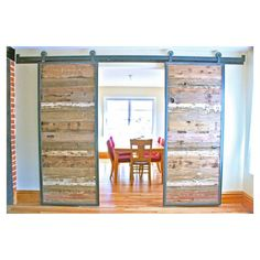 home decor solution sliding barn doors in reclaimed wood ❤ liked on Polyvore