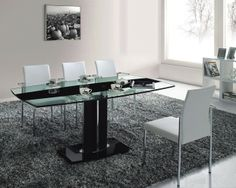 A829L Rectangular Dining Table With Glass Top