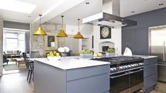 Smart Grey Kitchen with Mustard Accents
