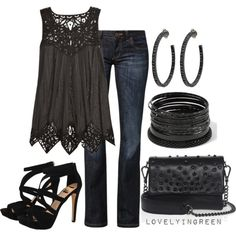 Black Lace top by lovelyingreen on Polyvore