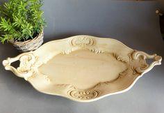 French Vintage Serving Platter. Vintage Cake Platter.  Vintage Fruit Platter. Cream Decorative Plate. Rustic Decorative Platter. ANNIVERSARY by JadisInTimesPast on Etsy