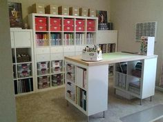 Awesome way to organize a craft room! craft desk with storage ikea shelving units craft island craft desk with storage ikea