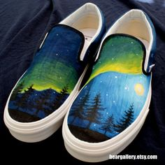 Custom Vans Alaska Aurora Borealis by beargallery on Etsy, $95.00
