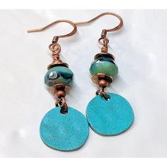 Turquoise Boho Bead Earrings, Blue, Patina, Czech Glass Bead, Copper, Dangle Charm, Bohemian Boho Jewelry, Gift For Her ($18) found on Polyvore featuring women's fashion, jewelry, earrings, turquoise dangle earrings, blue earrings, dangle earrings, blue charm and beaded dangle earrings