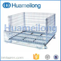 High quality galvanized collapsible stackable foldable wire mesh container