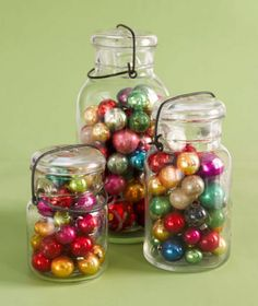 Mason jar mania .... I think I would use different sizes of ornaments.