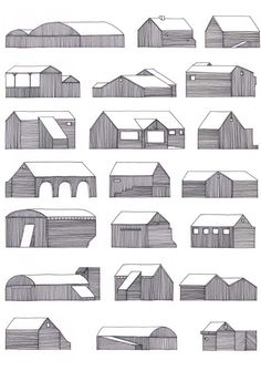 Nigel Peake - 22 Buidlings on the road (from In The Wilds). Drawings for house building block. Study Architecture, Vernacular Architecture, Architecture Drawings, Architecture Details, Illustrations, Illustration Art, Old Gates, Arte Popular, Art Plastique