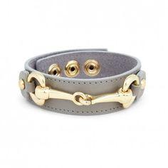 Women's Grey Interlocking Metal Leather Bracelet by Sole Society