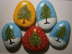Christmas Trees Painted Rocks handpainted acrylic by PlaceForYou