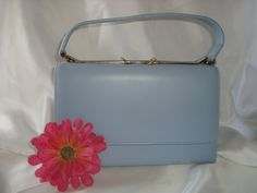 Powder Blue Hand Bag Ladies Vintage Purse by couturecafe on Etsy