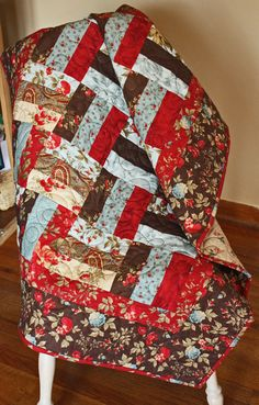 Rail Fence Lap Quilt, Baby Quilt, Wallhanging in Moda Double Chocolate Designer Fabric