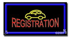 "Auto Registration Neon Sign - 20"" x 37""-ANS1500-5078-R  37"" Wide x 20"" Tall x 3"" Deep  Flashing Border ""ON/OFF"" switch  Sign is mounted on an unbreakable black or clear Lexan backing  Top and bottom protective sides  110 volt U.L. listed transformer fits into a standard outlet  Hanging hardware & chain included  6' Power cord with standard transformer  For indoor use only  1 Year Warranty on electrical components."