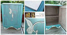 Table de nuit relookée turquoise et chocolat.  L'Atelier Colours & Style