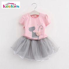 1b2535aa3aa Girls Dress 2018 Brand Kids Clothes White Cartoon Short Sleeve T-Shirt+Veil  Dress