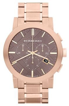 Burberry Rose Gold Bracelet Watch, Jewelry & Accessories - Watches - All Watches - Bloomingdale's Cool Watches, Watches For Men, Macys Watches, Nixon Watches, Fossil Watches, Fine Watches, Jewelry Accessories, Fashion Accessories, Burberry Watch