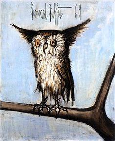 Bernard Buffet owl:my next needlepoint project, can't wait to get started!