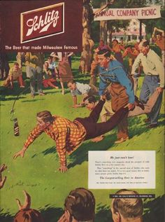 """Description: 1951 SCHLITZ vintage print advertisement """"Annual Company Picnic""""-- He just can't lose! There's something very magnetic about the prospect of cold Schlitz Beer on a hot summer day."""