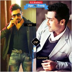 """#Style vs #Trendy Handsome & Stylish actor #Surya in Stylish Blazer with cool Look & in Trendy Jacket with Dynamic look.  Which Outfit suits him & looks Awesome? Present your interest in """"Like"""" for Jacket or """"Comment"""" for Blazer….  (Image copyrights belong to their respective owners)"""