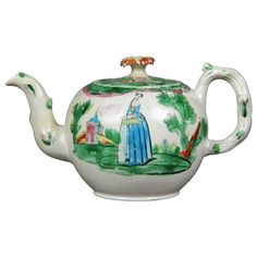 Staffordshire Salt Glaze Teapot | From a unique collection of antique and modern pottery at https://www.1stdibs.com/furniture/dining-entertaining/pottery/