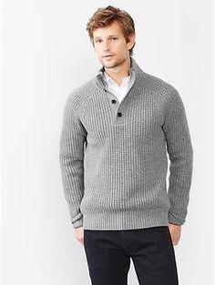 Lambwool textured henley sweater