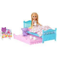 Mattel Barbie, Purple Teddy Bear, Club Chelsea, Winnie The Pooh, Toys Uk, Yellow Pillows, Doll Beds, Barbie Dream House, Doll Quilt