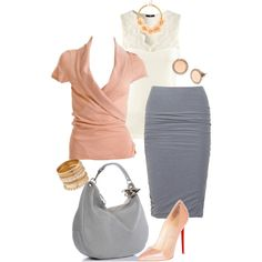 """Gray & Peach"" by zeinab-adel on Polyvore"