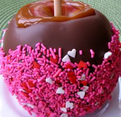 Caramel Chocolate Covered Apple with Valentine's Sprinkles