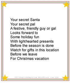 New Funny Christmas Poems Grinch Pills 32 Ideas Secret Santa Messages, Secret Santa Note, Secret Santa Poems, Funny Secret Santa Gifts, Message From Santa, Secret Pal, Christmas Frames, Christmas Decor, Christmas Gifts