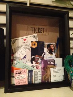 """I LOVE this idea and I WILL make this! Shadow Box Ticket Stub Holder (although I'd make the """"ticket"""" artwork inside more creative somehow)"""