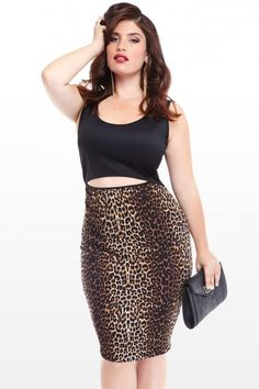 baf3bb5039 Plus Size Leopard Cutout Dress