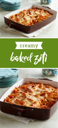 Creamy Baked Ziti – Creamy is the key word here—as sour cream and cream cheese take a tomato, marinara and ziti casserole to a whole new level of pasta deliciousness. This easy dinnertime dish is ready for the oven in 25 minutes.