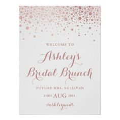 Faux Rose Gold Foil Confetti Bridal Brunch Sign - glitter gifts personalize gift ideas unique