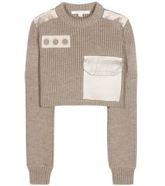 Taupe embellished wool sweater