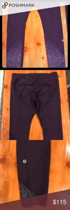 """Lululemon Tight Stuff Tight - Size 10 **NEW** Never worn, without tags! Washed once in cold, no dryer, no fabric softener. No snags, no damage.   Brand: Lululemon Style: Tight Stuff Tight - Mid Rise **Side pockets and back zippered pocket **Compressive fit Inseam: 25"""" Color: Deep Zinfandel (dark purple) Material: full-on luxtreme  **Reflective details around calves lululemon athletica Pants Leggings"""