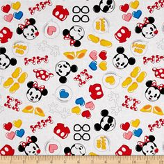Disney Emojiland Mickey and Minnie With Icons white from @fabricdotcom  Designed by Disney and licensed to Springs Creative Products, this cotton print fabric is perfect for quilting, apparel and home decor accents. Colors include black, pink, white, blue and green. Due to licensing restrictions, this item can only be shipped to USA, Puerto Rico, and Canada.