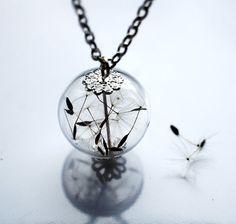 Dandelion Necklace Specimen Wish Glass Bead Orb Silver Necklace Botanical Make A Wish Globe Beadwork