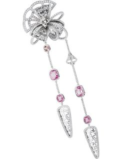 Louis Vuitton L'Aime du Voyage Geisha Brooch - Brooch in white gold, Louis Vuitton diamonds, padparadcha and pink sapphires. Pink Jewelry, Jewelery, Geisha, Louis Vuitton Jewelry, Titanic Jewelry, Orange And Purple, Pink Sapphire, Pandora Jewelry, Pendant Jewelry