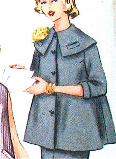 I had a coat much like this in that length. (gaw) Vintage 1950s sewing pattern Vintage Dress Patterns, Clothing Patterns, Vintage Dresses, Maternity Wear, Maternity Fashion, Retro Outfits, Vintage Outfits, 1950s Fashion, Vintage Fashion