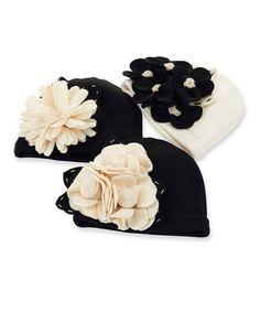 This Black & White Felt Flower Beanie Set by Mud Pie is perfect! #zulilyfinds