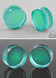 Gorilla Glass Deluxe dichroic plugs (Turquoise and green)