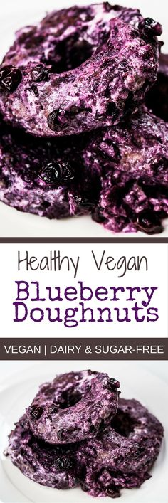 Healthy Vegan Blueberry Doughnut Recipe Dairy-Free | Sugar-Free