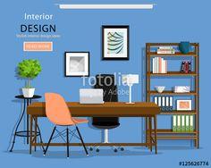 ベクター: Modern graphic office room interior: desk, chairs, bookcase, laptop, lamp. Flat style vector illustration.点