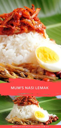 Here's a recipe for mum's signature Malaysian Nasi Lemak. Try this simple recipe for coconut rice with all the trimmings. Recipe by Asian Inspirations. Coconut Rice, Coconut Recipes, Rice Recipes, Indian Food Recipes, Asian Recipes, Malaysian Recipes, Malaysian Food, A Food, Good Food