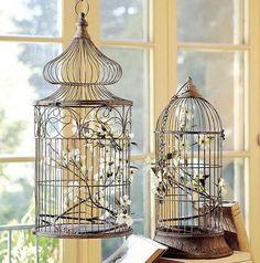 Decorando con jaulas, que cada vez son menos las que se utilizan para tener pájaros en cautividad y más para adornar.