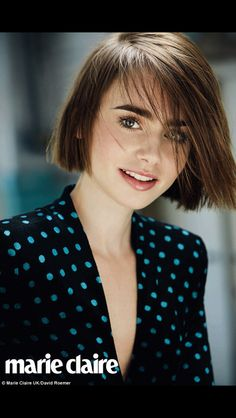 Lily Collins blunt straight bob for Marie Claire is the perfect new look for winter.